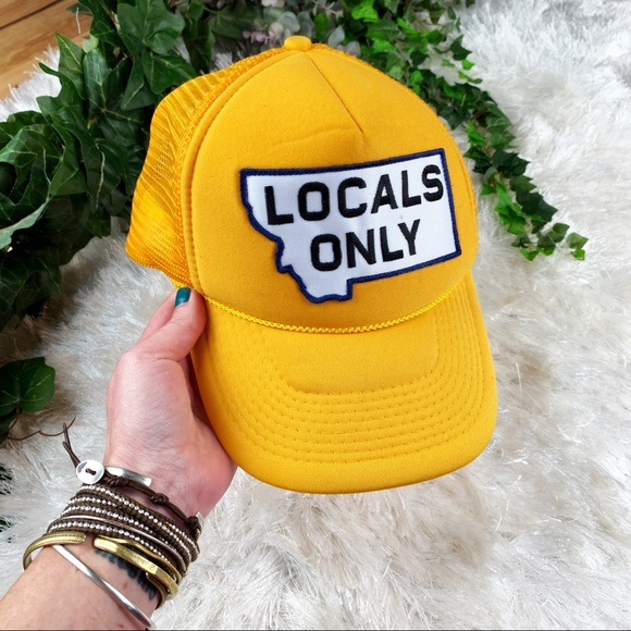 Locals Only Montana Yellow Trucker Hat 5 Panel Cap